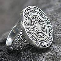 Sterling silver cocktail ring, 'Coins of the Kingdom' - Sterling silver cocktail ring