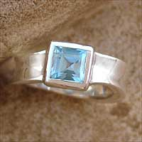 Blue topaz solitaire ring, 'Clarity' - Blue topaz solitaire ring