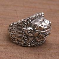 Men's sterling silver band ring, 'Barong Hero' - Men's sterling silver band ring