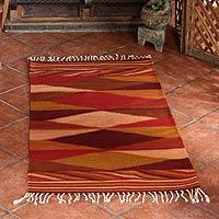 Zapotec wool rug Earth Seasons 2.5x5 Mexico