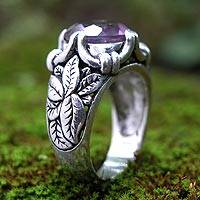 Amethyst solitaire ring, 'Lilac Summer' - Amethyst solitaire ring