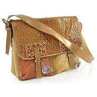 Leather and cotton handbag, 'Modern Safari' - Vintage Style Leather and Cotton Handbag from Brazil
