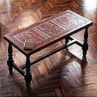 Cedar and leather coffee table,