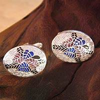 Sterling silver cufflinks, 'New Leaf' - Sterling silver cufflinks