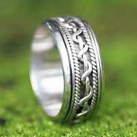 Men's sterling silver ring, 'Knots' - Men's sterling silver ring