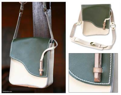 Leather shoulder bag, 'Forest Walk' - Leather shoulder bag