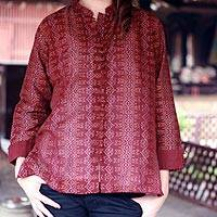 Cotton blouse, 'Ikat Stars' - Cotton blouse