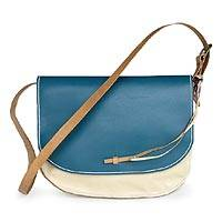 Leather shoulder bag, 'Fancy Blue' - Azure and Off White Leather Shoulder Bag