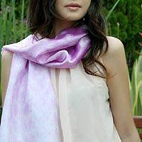 Silk blend scarf, 'Mottled Violet' - Silk Blend Scarf in Orchid Purple and White Tie Dye