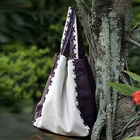Leather handbag, 'Purple Passion' - Purple and Off White Handmade Leather Handbag