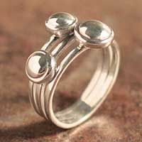 Sterling silver band ring, 'To Mom' - Sterling silver band ring