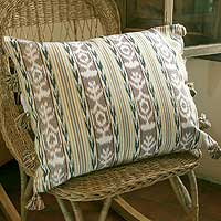 Cotton cushion cover, 'Tribute' - Cotton cushion cover
