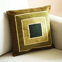 Wool cushion cover, 'Andean Meadows' - Wool cushion cover
