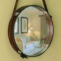 Leather mirror New Moon Peru