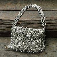 Soda pop-top bag, 'Mini-Shimmery Silver' - Soda pop-top bag