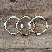 Sterling silver and copper band rings, 'Taxco Destiny' (set of 3) - Sterling silver and copper band rings (Set of 3)