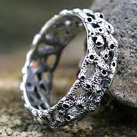 Men's sterling silver ring, 'Coral Reef' - Men's sterling silver ring