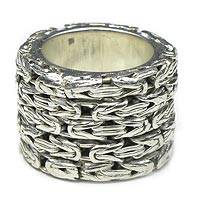 Sterling silver band ring, 'Togetherness' - Sterling silver band ring