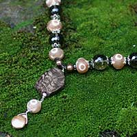 Pearl and DZI Tibet pendant necklace, 'Mystical' - Pearl and DZI Tibet pendant necklace