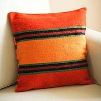 Wool cushion cover, 'Three Worlds' - Wool cushion cover