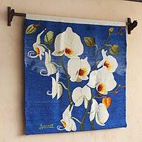 Wool tapestry, 'White Orchids' (Peru)