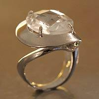 Quartz solitaire ring, 'New Era' - Quartz solitaire ring