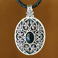 Onyx necklace, 'Forest Shield' - Onyx necklace