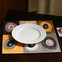 Placemats and coasters, 'Vision' (set for 6) - Placemats and coasters (Set for 6)