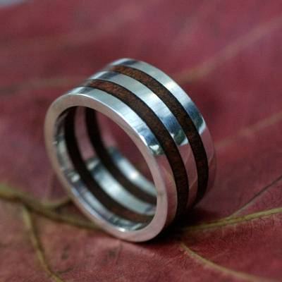 Men's wood ring, 'Triumph' - Men's wood ring