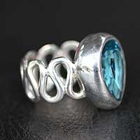 Blue topaz solitaire ring, 'Enchanted Bali' - Blue topaz solitaire ring