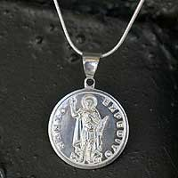 Sterling silver pendant necklace, 'Saint Expeditus' - Sterling silver pendant necklace