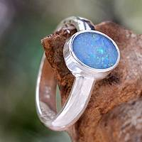 Opal solitaire ring, 'Intensity' - Opal solitaire ring