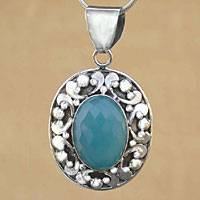 Sterling silver pendant necklace, 'Azure Skies' - Sterling silver pendant necklace