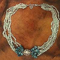 Aquamarine beaded necklace,