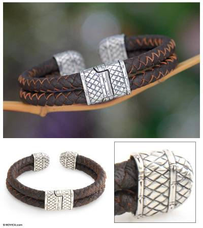 Men's Sterling silver and leather bracelet, 'Manly' - Men's Sterling silver and leather bracelet