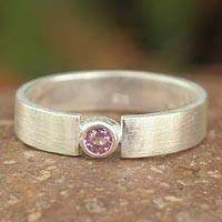 Pink sapphire solitaire ring,