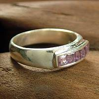 Amethyst band ring, 'Quintet' - Amethyst band ring
