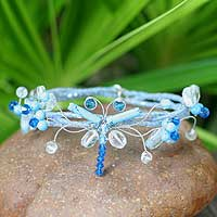 Beaded wrap bracelet, 'Butterfly Bloom' - Blue Beaded Wrap Bracelet from Thailand