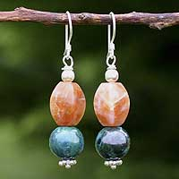Calcite and chrysocolla dangle earrings,