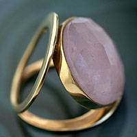 Gold vermeil rose quartz cocktail ring, 'Rose Moon' - 18k Gold Vermeil Rose Quartz Cocktail Ring