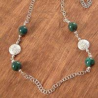 Chrysocolla long necklace,