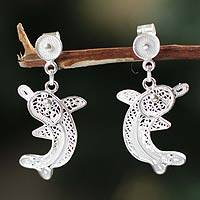 Silver filigree earrings, 'Dancing Dolphin' - Silver filigree earrings