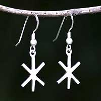 Sterling silver dangle earrings, 'Starlight' - Sterling Silver Star Shaped Dangle Earrings