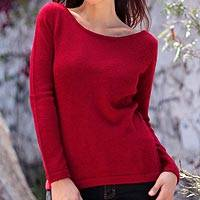 100% alpaca sweater, 'Crimson Charm' - 100% alpaca sweater