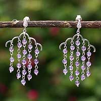 Amethyst chandelier earrings, 'Rain Shower' - Amethyst chandelier earrings