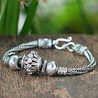 Sterling silver braided bracelet, 'Thai Ode' - Sterling silver braided bracelet