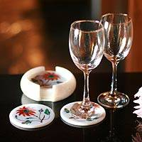 Marble coaster set, 'Dahlia Gems' (set for 6) - Marble coaster set (Set for 6)