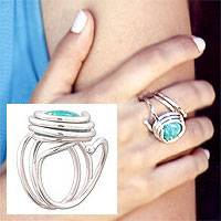 Amazonite cocktail ring, 'Amazon Spiral' - Amazonite cocktail ring