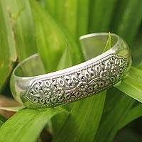 Sterling silver cuff bracelet, 'Wild Roses' - Sterling silver cuff bracelet