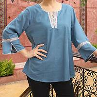 Cotton blouse, 'Endless Sky' - Cotton blouse